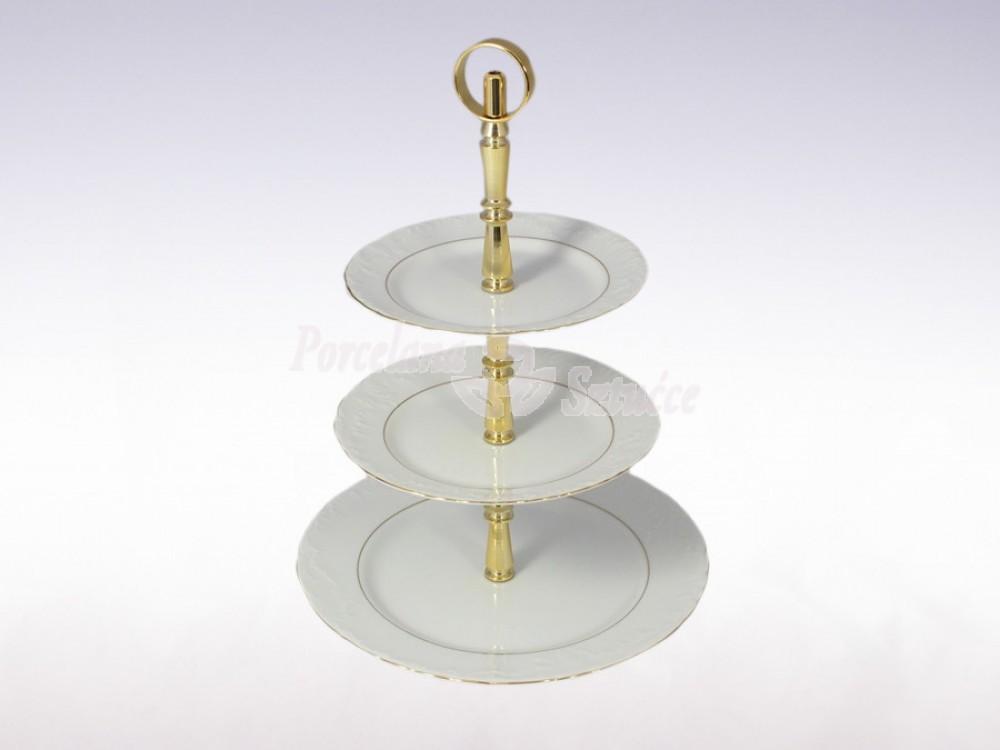 Etażerka 3 części Ćmielów Rococo Złoty Pasek 3604 Wzór