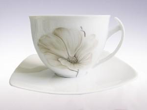 Zestaw do herbaty dla 6 osób. Filiżanki 450ml. Ćmielów Akcent Magnolia G463