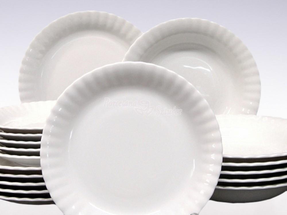 Komplet talerzy 6 osób 18 el. Chodzież Iwona Biały C000