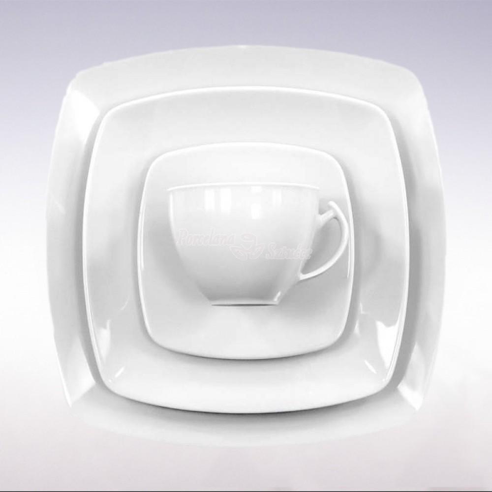Kwadratowy Serwis obiadowo-kawowy 6 osób 30 el. Ćmielów Akcent Biały C000