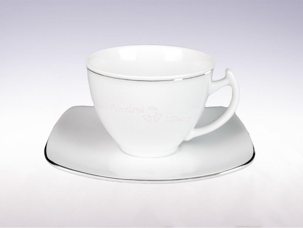 Kwadratowy Serwis obiadowo-kawowy 6 osób 30 el. Ćmielów Akcent Platynowa Linia 9718