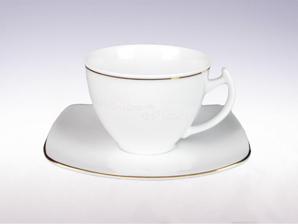 Kwadratowy Serwis obiadowo-kawowy 6 osób 30 el. Ćmielów Akcent Złoty Pasek 3603