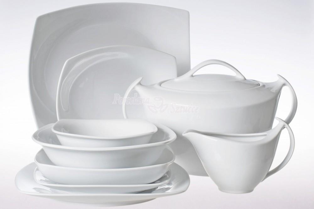Kwadratowy Serwis obiadowy 12 osób 44 el. Ćmielów Akcent Biały C000