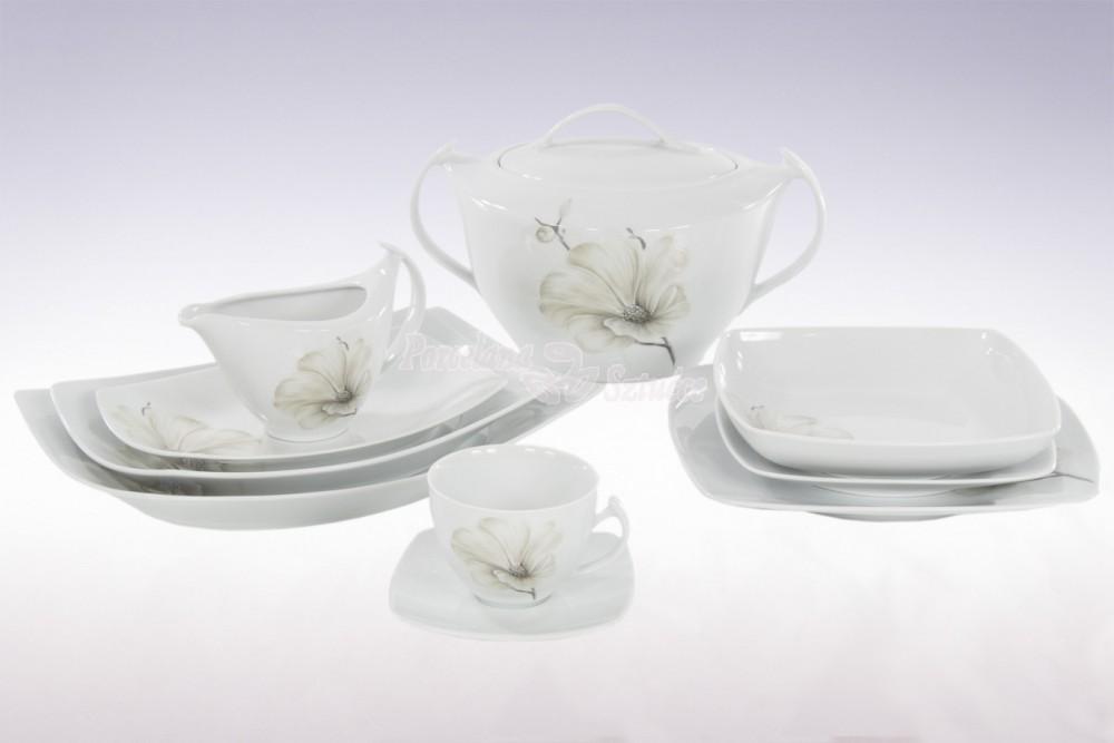 Kwadratowy Serwis obiadowy 12 osób 44 el. Ćmielów Akcent Magnolia G463