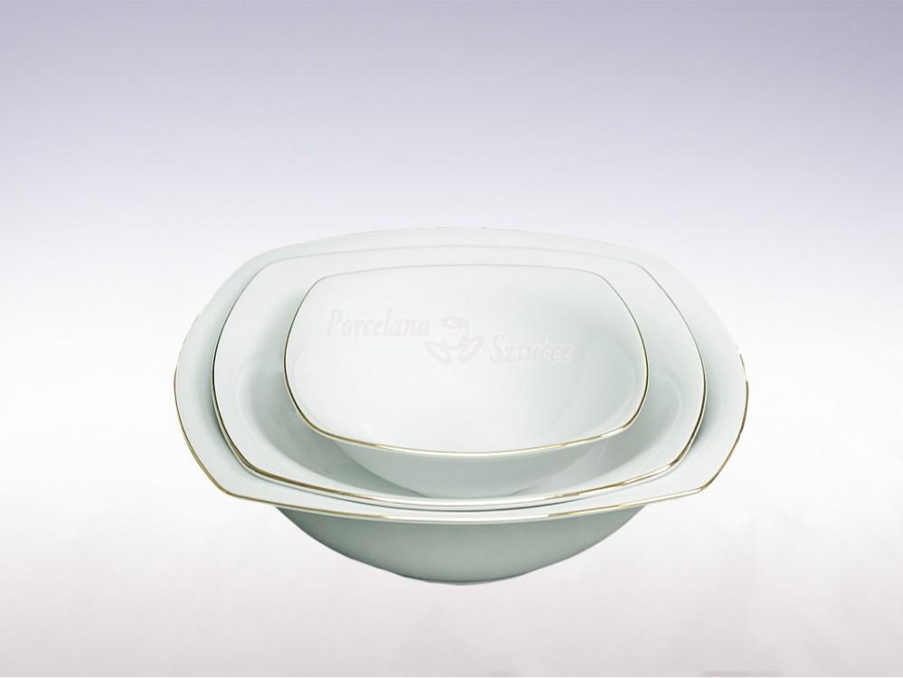 Kwadratowy Serwis obiadowy 12 osób 44 el. Ćmielów Akcent Złoty Pasek 3603