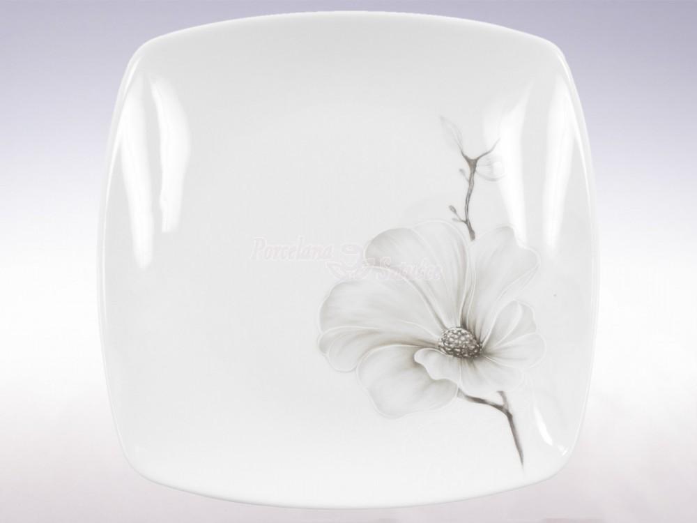 Kwadratowy talerz obiadowy Ćmielów Akcent Magnolia G463