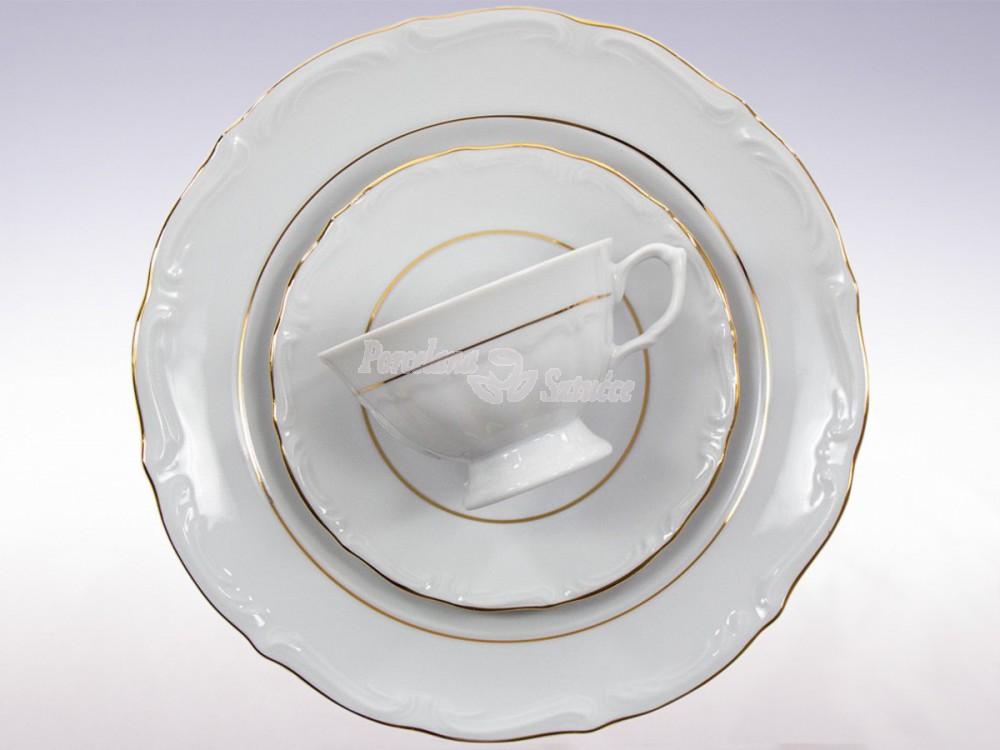 Serwis do herbaty 12 osób 39 el. Chodzież Maria Teresa Złoty Pasek B014 Wzór