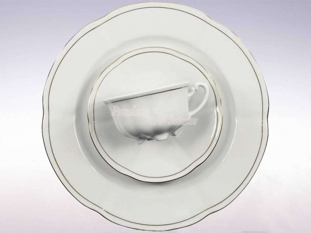 Serwis do herbaty 12 osób 39 el. 220 Ćmielów Bolero Platynowa Linia 3605 Wzór