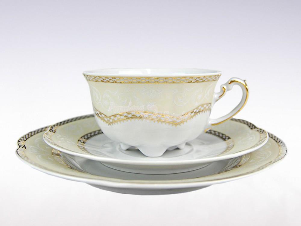 Serwis do herbaty 12 osób 39 el. 220 Ćmielów Bolero Vienna Złota E363