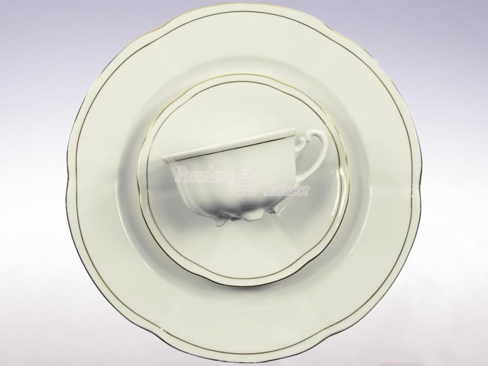 Serwis do herbaty 12 osób 39 el. 220 Ćmielów Bolero Złoty Pasek 3604 Wzór