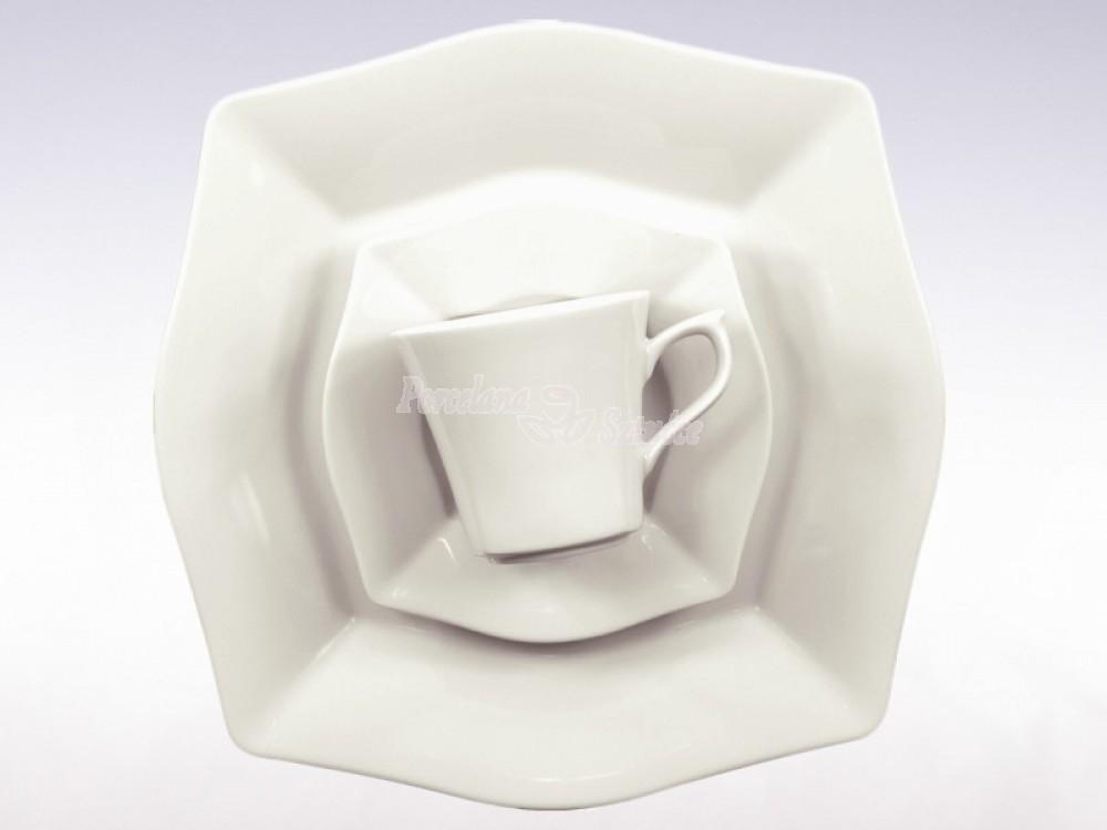 Serwis do herbaty 12 osób 39 el. Ćmielów Lwów Biały 0001 Wzór