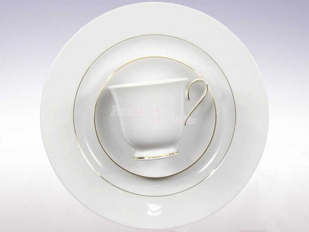 Serwis do herbaty 12 osób 40 el. Ćmielów Astra Złoty Pasek B014 Wzór