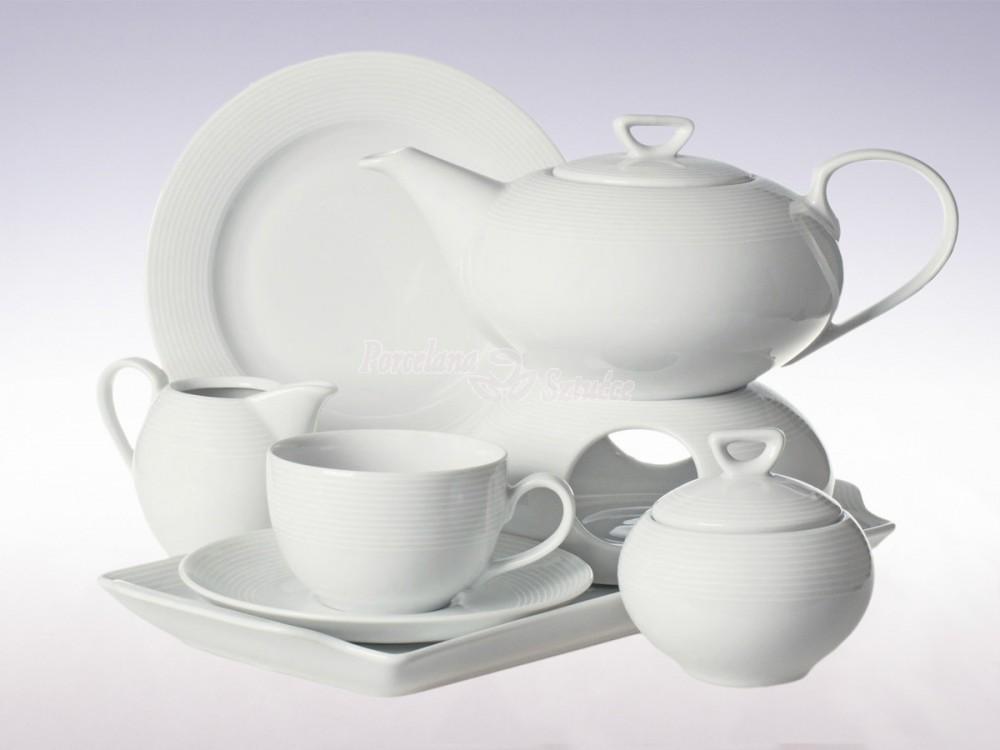 Serwis do herbaty 12 osób 41 el. 250 Chodzież Yvette Biała Linea E755 Wzór