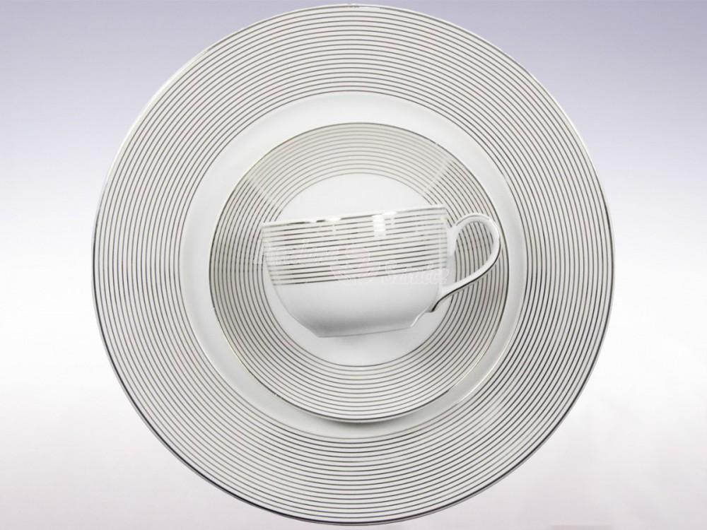 Serwis do herbaty 12 osób 41 el. Ćmielów Yvonne Linea Platynowa E520 Wzór