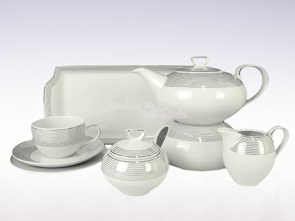 Serwis do herbaty 12 osób 41 el. Ćmielów Yvonne Linea Platynowa E520