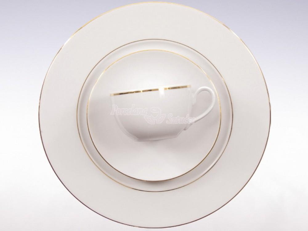 Serwis do herbaty 12 osób 41 el. Ćmielów Yvonne Złoty Pasek 3604 Wzór