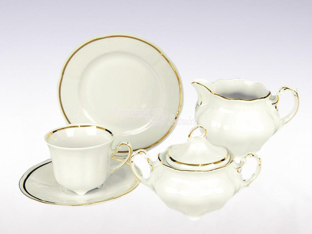 Serwis do herbaty 6 osób 20 el. 220 el. Ćmielów Bolero Pas Złota E337