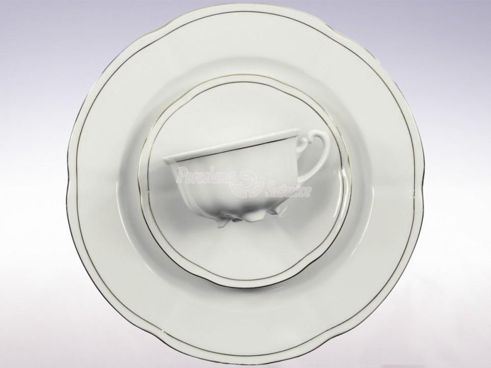 Serwis do herbaty 6 osób 20 el. 220 el. Ćmielów Bolero Platynowa Linia 3605 Wzór