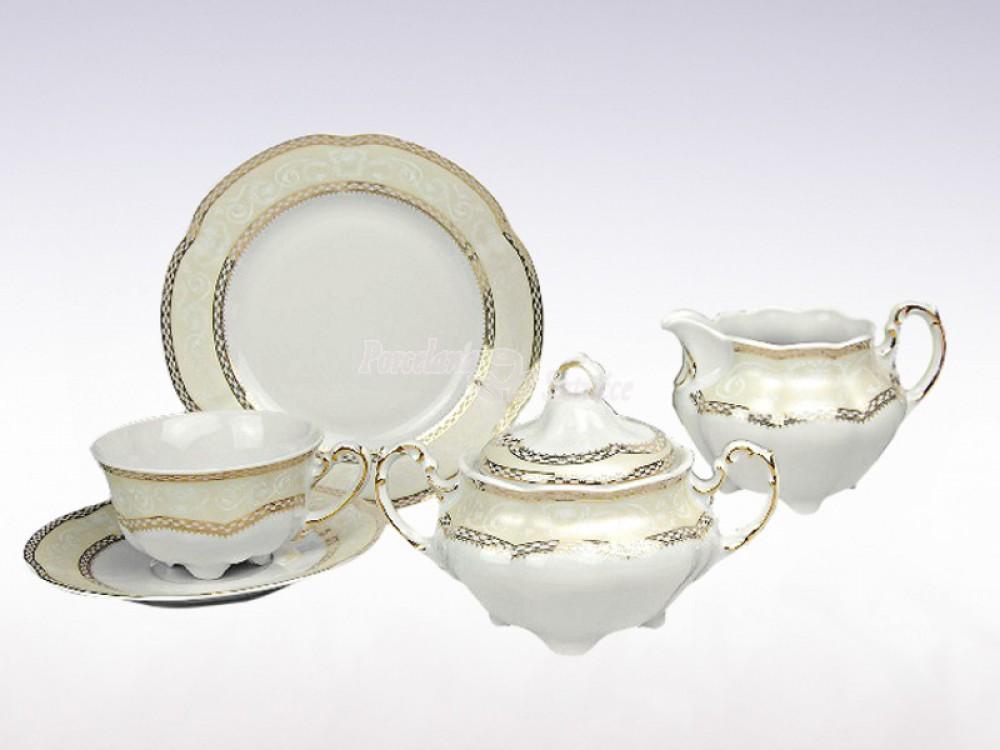 Serwis do herbaty 6 osób 20 el. 220 el. Ćmielów Bolero Vienna Złota E363