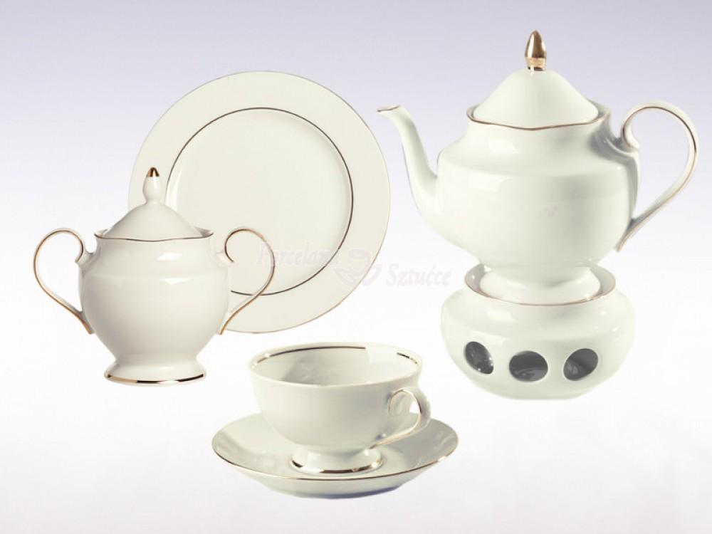 Serwis do herbaty 6 osób 21 el. Ćmielów Astra Złoty Pasek B014