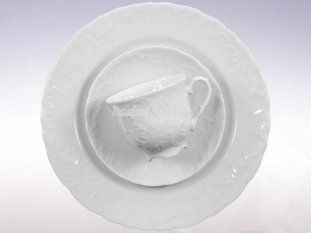 Serwis do Kawy 12 osób 39 el. 250 Ćmielów Rococo Biały 0001 Wzór