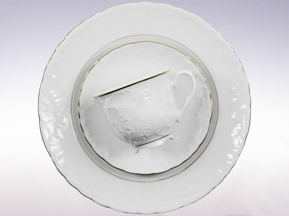 Serwis do Kawy 12 osób 39 el. 250 Ćmielów Rococo Złoty Pasek 3604 Wzór