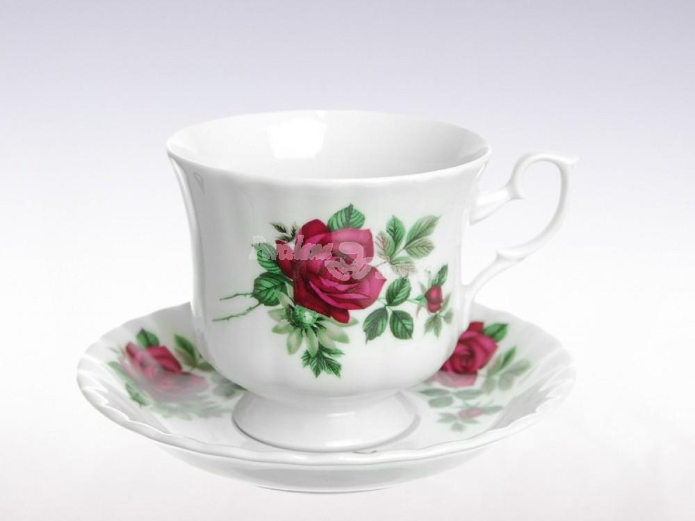 Serwis do Kawy 12 osób 39 el. Chodzież Iwona Bordowa Róża B826
