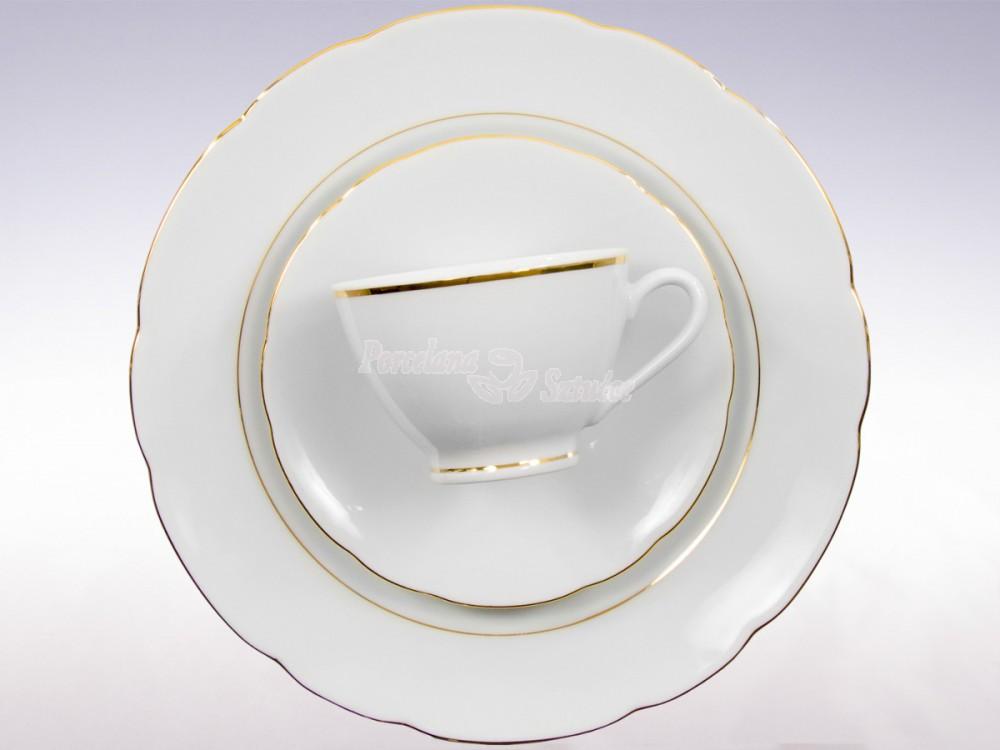 Serwis do Kawy 12 osób 39 el. 250 Ćmielów Feston Złoty Pasek 3604 Wzór