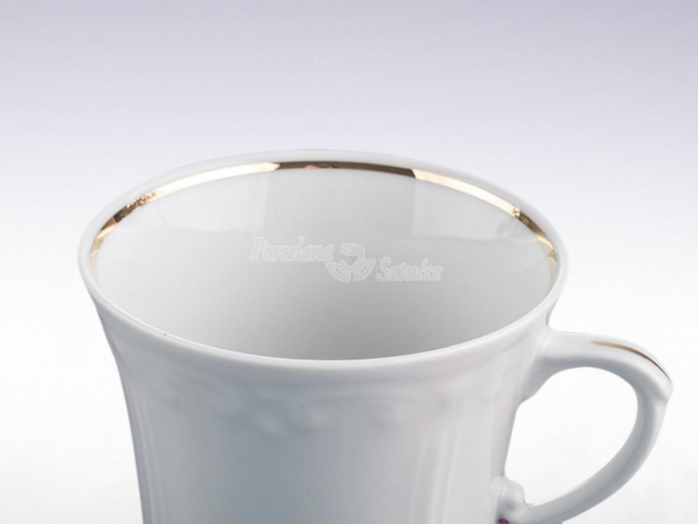 Serwis obiadowo-kawowy 6 osób 30 el. Chodzież Kamelia Złoty Pasek B014