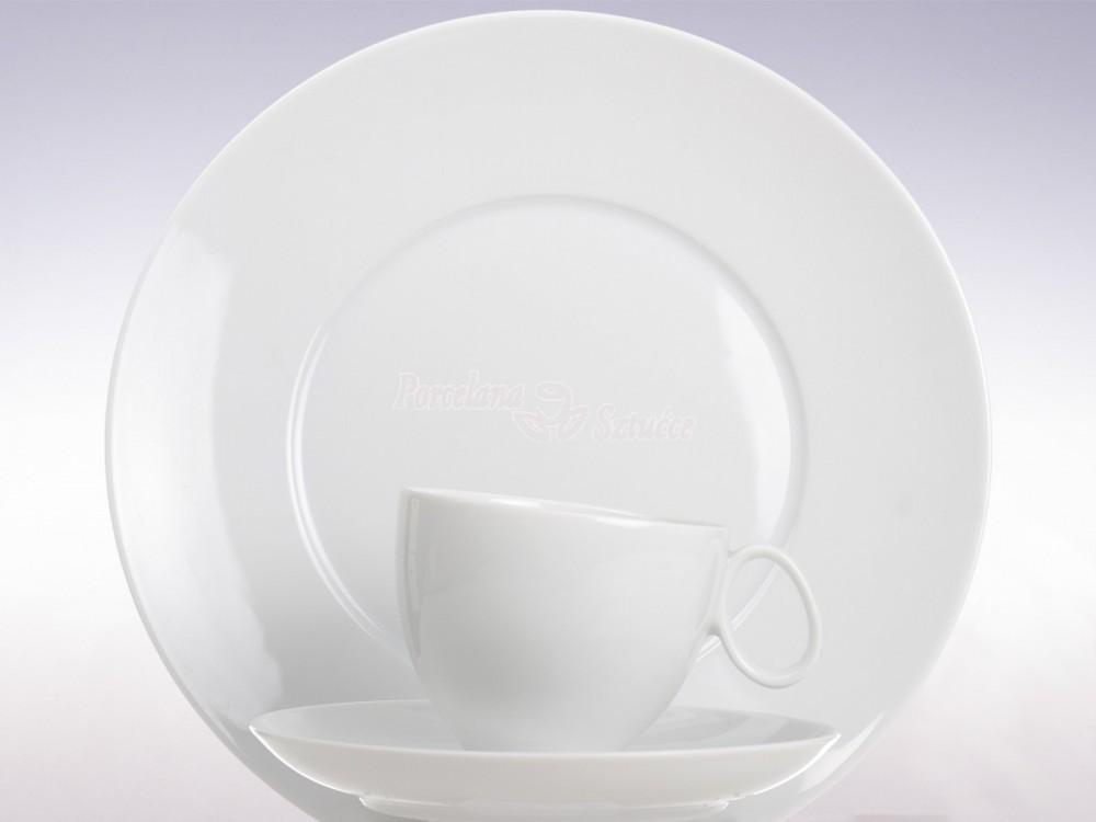 Serwis obiadowo-kawowy 6 osób 30 el. Chodzież Quebec Biały C000 Wzór