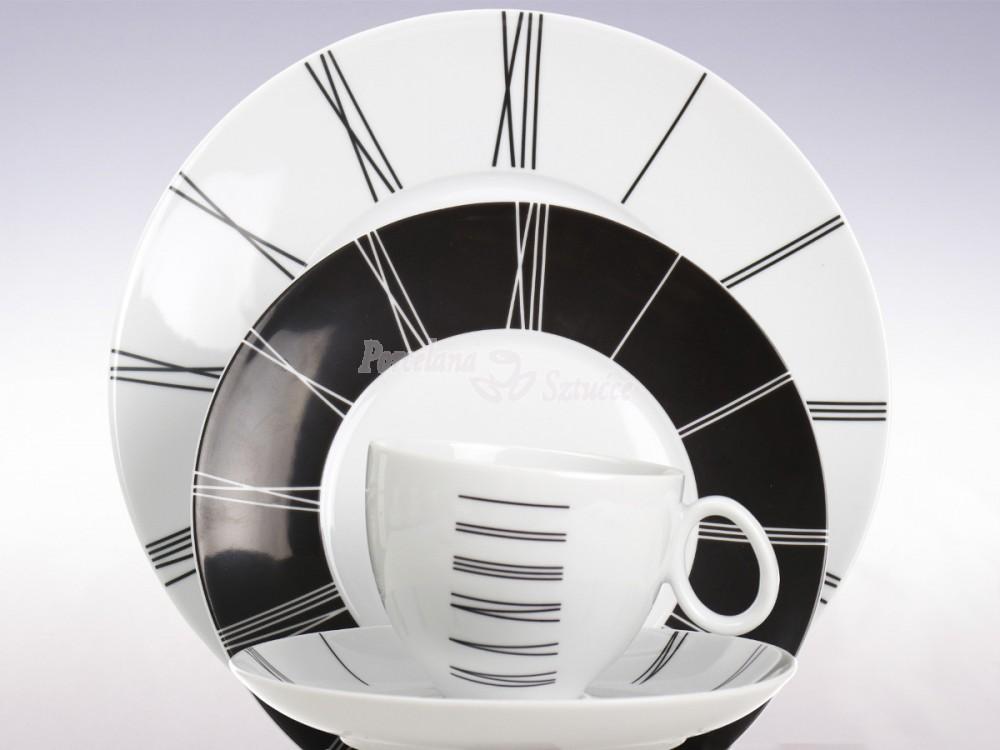 Serwis obiadowo-kawowy 6 osób 30 el. Chodzież Quebec Zegar E722 Wzór