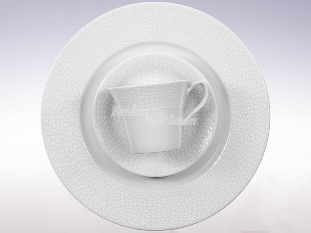Serwis obiadowo-kawowy 6 osób 30 el. Chodzież Venus Biała Skóra K220