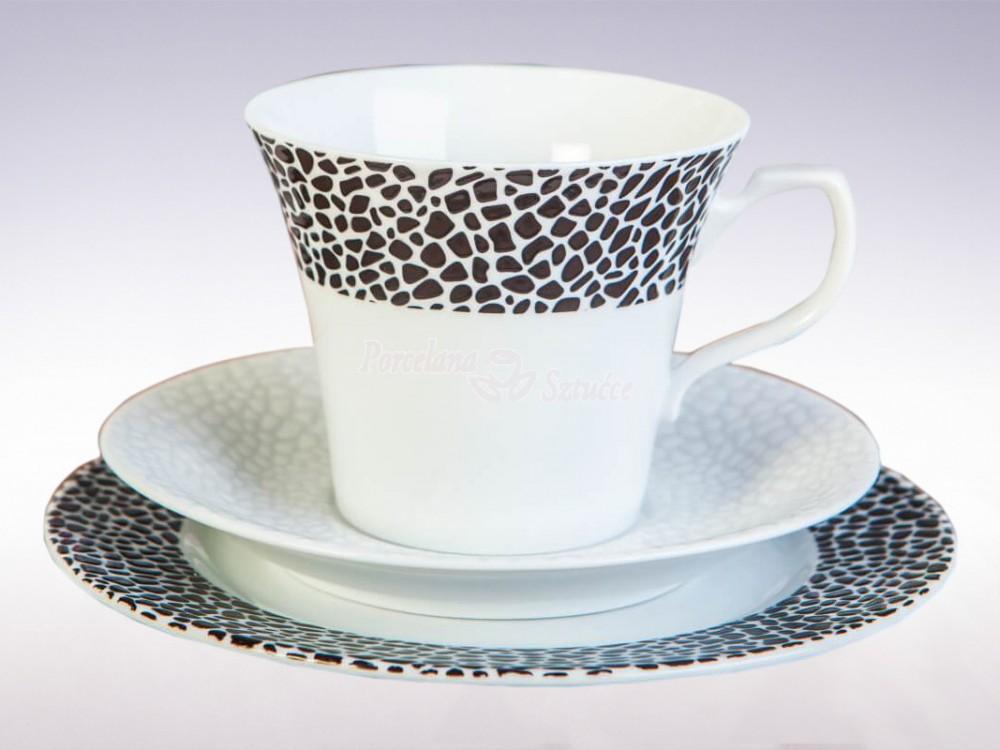 Serwis obiadowo-kawowy 6 osób 30 el. Chodzież Venus Black&White K244
