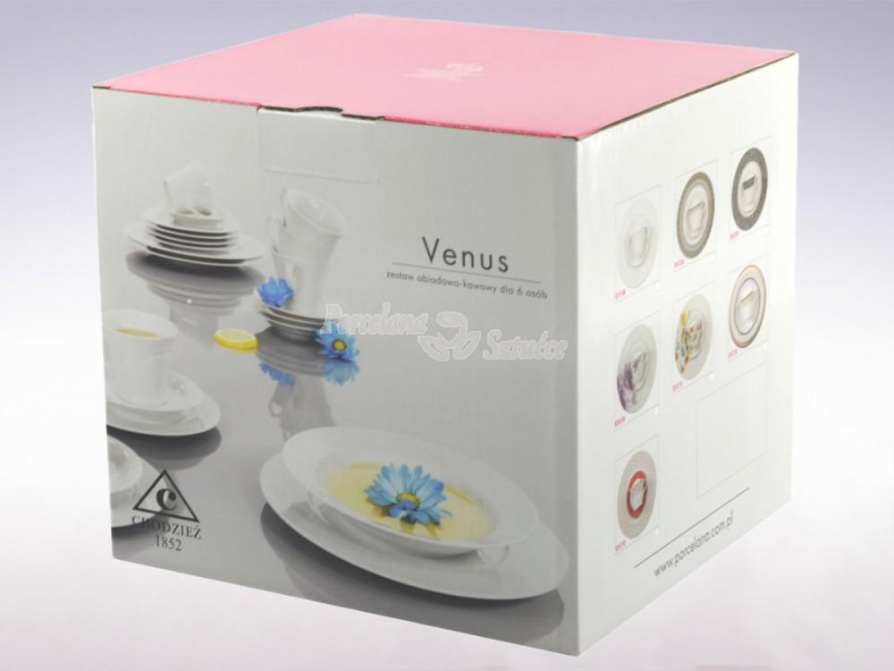 Serwis obiadowo-kawowy 6 osób 30 el. Chodzież Venus Black&White K244 Wzór