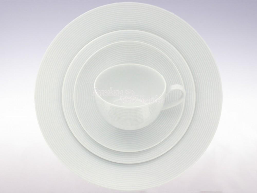Serwis obiadowo-kawowy 6 osób 30 el. Chodzież Yvette Biała Linea E755 Wzór