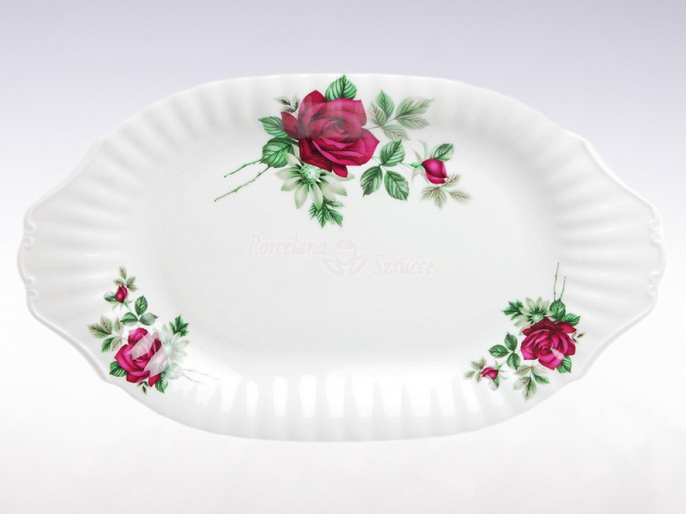 Serwis obiadowy 12 osób 44 el. Chodzież Iwona Bordowa Róża B826