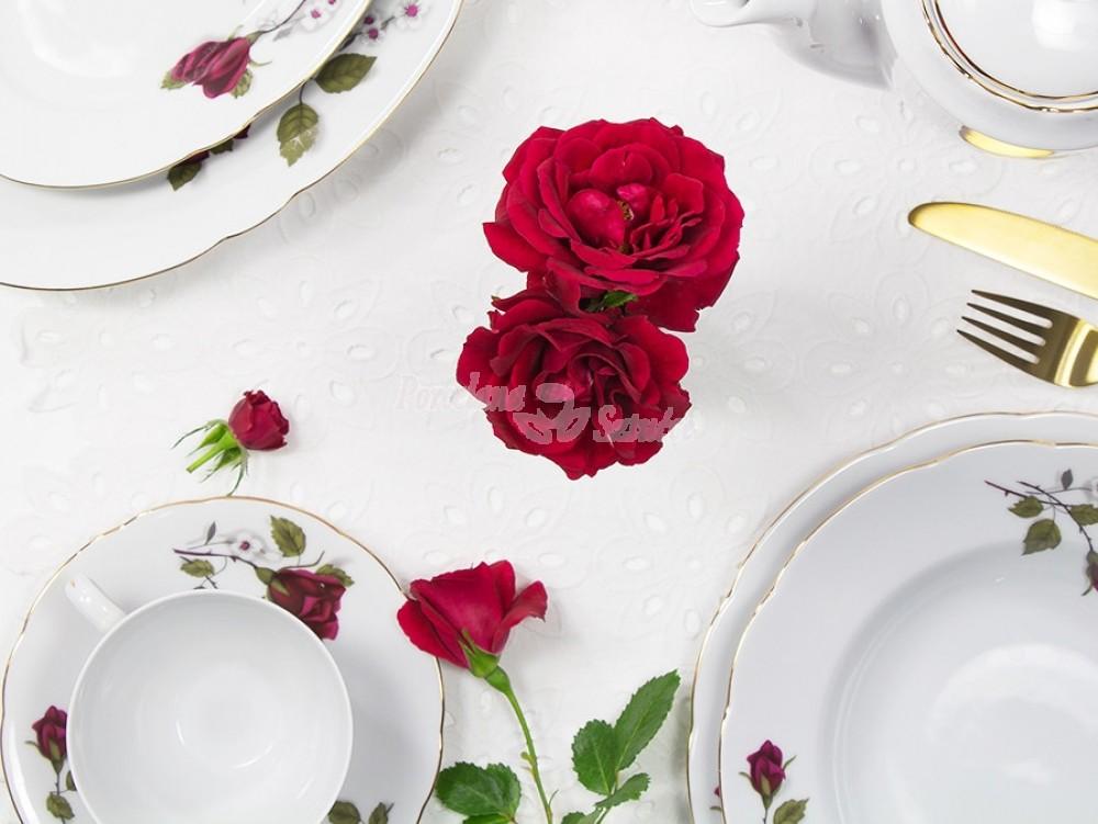Serwis obiadowy 12 osób 44 el. Ćmielów Feston Róża Angielska 5280