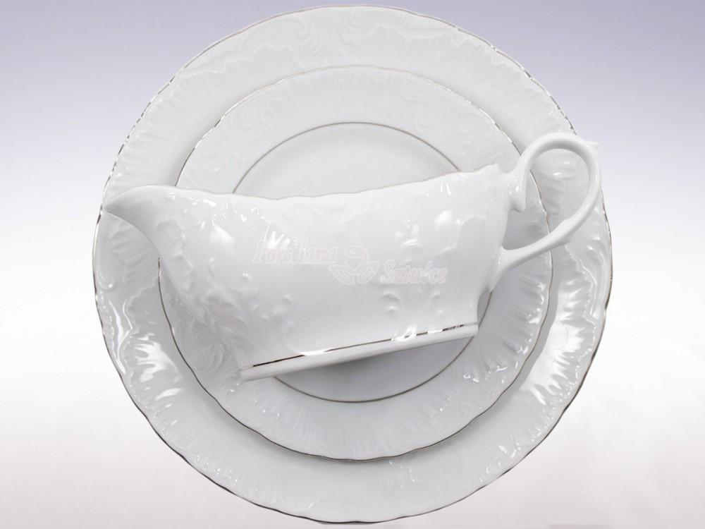 Serwis obiadowy 12 osób 44 el. Ćmielów Rococo Platynowa Linia 3605 Wzór