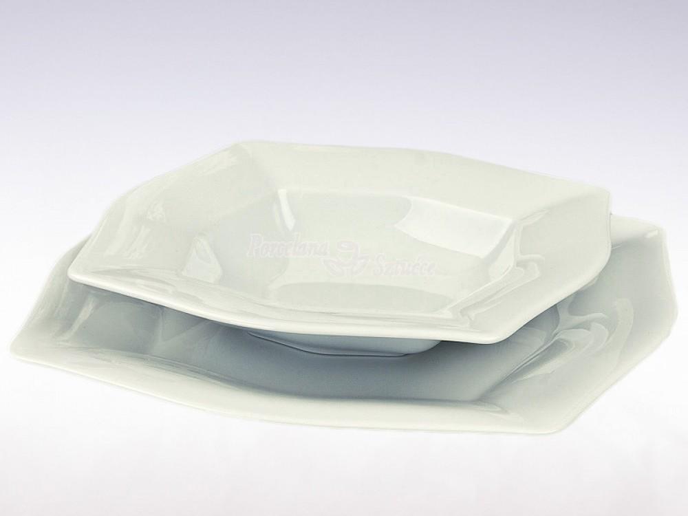 Serwis obiadowy 12 osób 45 el. Ćmielów Lwów Biały 0001
