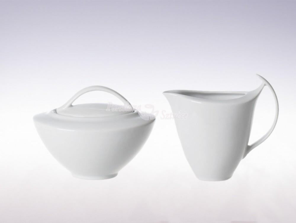 Zestaw cukiernica i mlecznik Ćmielów Akcent Biały C000