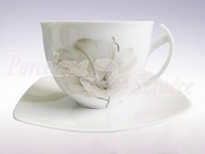 Zestaw do herbaty dla 6 osób. Filiżanki 450ml ze spodkiem. Ćmielów Akcent Magnolia G463