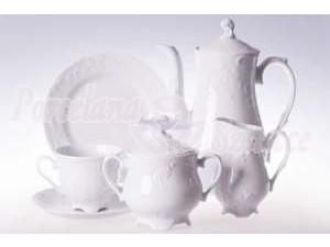 Serwis Obiadowy i Serwis Kawowy 12 osób 83 elementy Ćmielów Rococo 0001 Biały