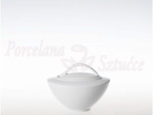 Zestaw cukiernica i mlecznik Ćmielów Akcent Biały C000 Wzór